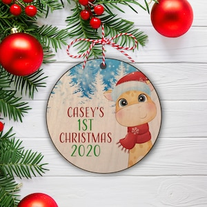 First Christmas Ornament Personalized Photo On Wood Ornament Etsy