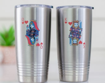 King and Queen Coffee Mugs | Personalized Tumblers | Stainless Steel Insulated Travel Mug |  Gifts for Couples | His and Hers Drinking Cups