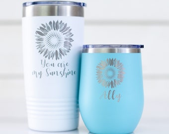 Custom Coffee Mug | 20oz Tumbler or 12oz Wine Tumbler | Personalized Sunflower | Engraved Iced Coffee Tumbler | Gift for Her | Gift for Mom