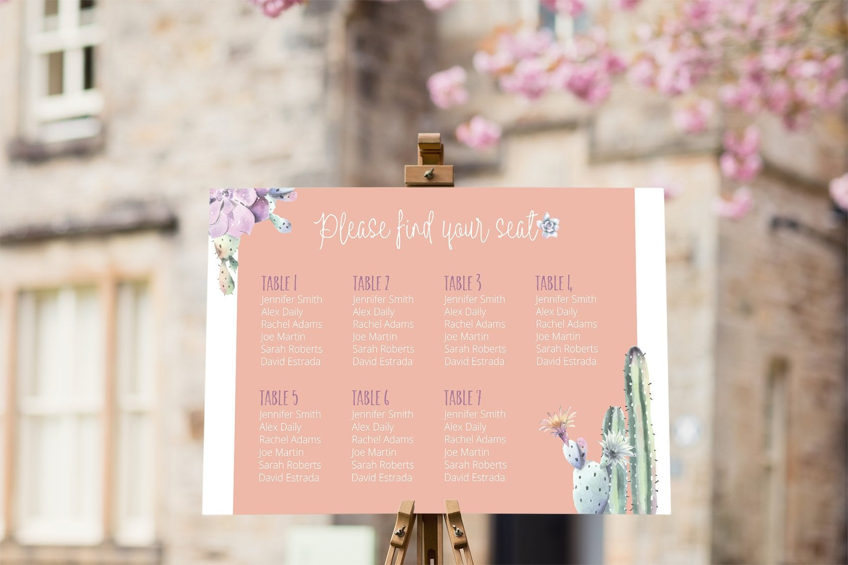 Wedding Seating Chart Desert Theme Seating Plan Table Seating Chart Cactus Wedding Sign Seating Template Wedding Chart Acrylic Sign