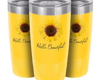 Personalized Tumbler | Sunflower Coffee Mug for Women | 20 oz Travel Mug with Lid | Custom Coffee Cup | Mothers Day Gift Idea | Gift for Her