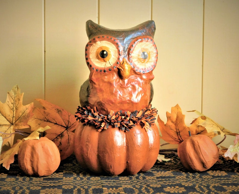 Halloween Owl Primitive Paper Mache Folk Art Vintage Halloween Decoration