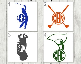 Golf Decal, Golf Monogram, Vinyl Decal, Tumbler Decal