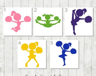 Cheerleader Decal, Cheer Tumbler Decal, Vinyl Decal with Name