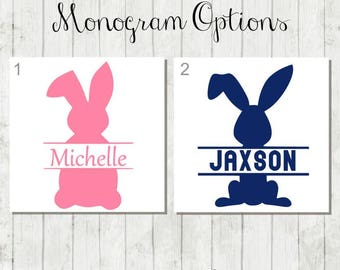 Personalized Easter Bunny Decal, DIY Easter Bucket Decal, Easter Decal, Bunny Monogram, Easter Bunny Decal, Easter Gift, Bunny Decal