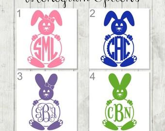 Monogram Bunny Decal, Rabbit Decal, Bunny Tumbler Decal, Easter Decal