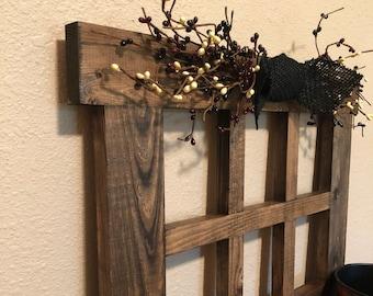 Large 6 Pane Wood Window Frame Rustic Wall Decor Primitive Decor For Living  Room Handmade Wood