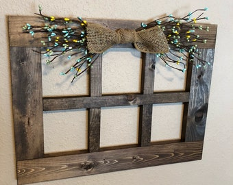 Large 6 Pane Wood Window Frame Rustic Wall Decor Primitive For Living Room Handmade Colored Pip Garland