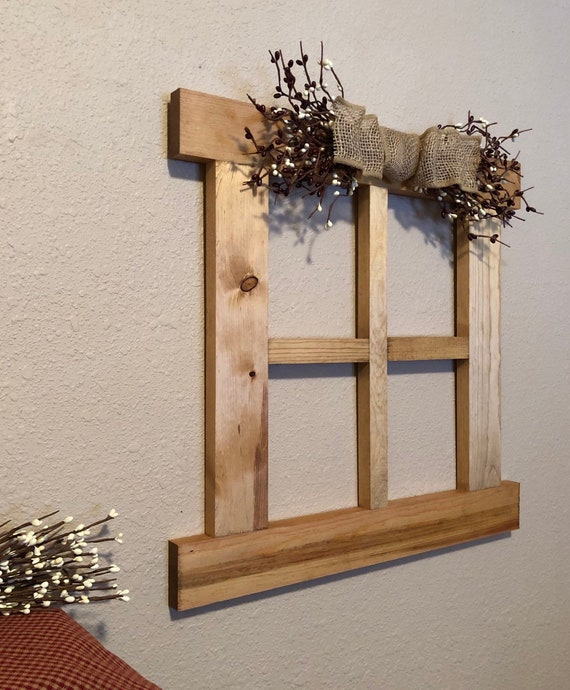 Sale Large Wall Decor With Primitive Pip Garland Wall Decor For Living Room Handmade Wood Window Frame 4 Pane Handmade Window Frame