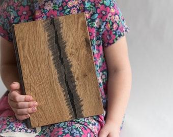 Wooden notebook, wooden sketchbook, wooden guest book, wooden journal, wooden diary