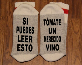Si Puedes Leer Esto ... Tómate Un Merecido Vino (Word Socks - Funny Socks - Novelty Socks)