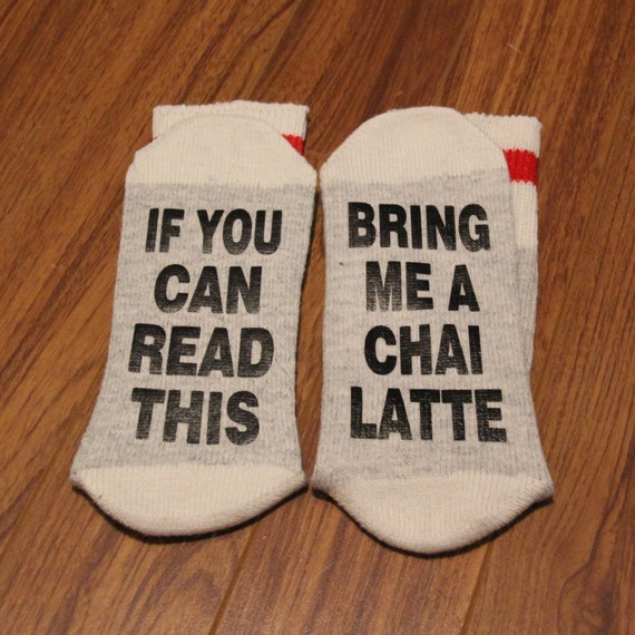 If You Can Read This Bring Me Chai Tea Socks Novelty Word Socks with Sayings for Women Men Ladies Cup of Tea