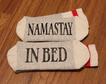 Namastay ... In Bed (Word Socks - Funny Socks - Novelty Socks)