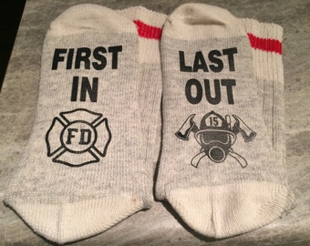 First In ... Last Out (Word Socks - Funny Socks - Novelty Socks) with Firefighter Logo and Breathing Apparatus design