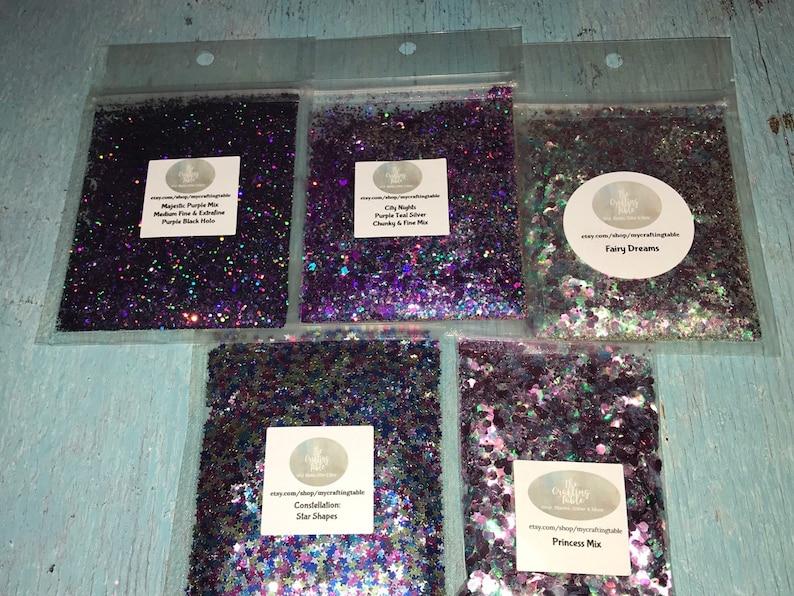 Star Stars Purple Fairy Princess Pink Blue Mix Holographic Iridescent Mix Chunky Glitter Bundle Polyester Glitter Bundle Mystic Mixes