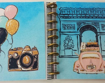 Parisan Holiday Planner Cover/TN/Dashboard/Bookmark| Happy Planner Erin Condren Recollections Travelers Notebook Plum Paper Inkwell