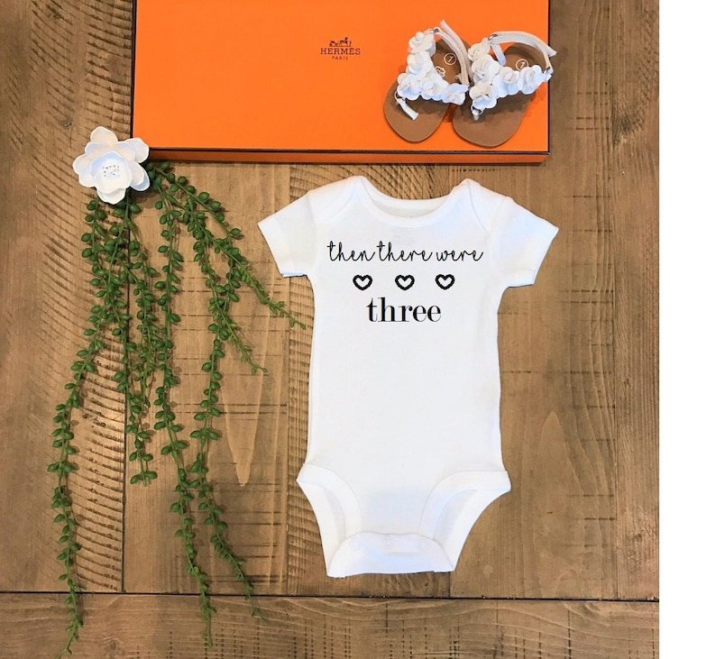 Then there were THREE announce cute funny trendy baby bodysuit   top shirt clothing apparel novelty celebrate newborn baby shower gift