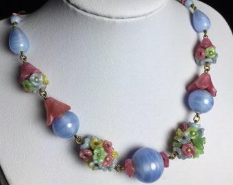 Vintage Necklace-Glass beads-blue-pink-colorful-flowers-Art Nouveau-Czech-gift-Wedding & Bride