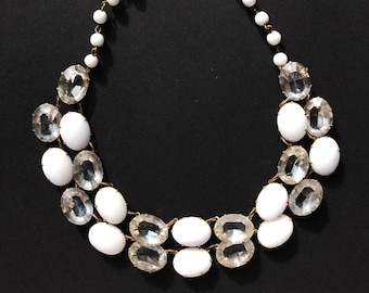 Vintage milk glass glass crystals oval necklace | 1950s Elegant Statement Mad Men Style
