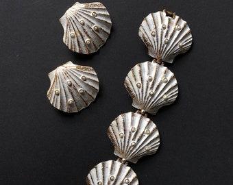 Vintage Shells Sea Summer White Jewelry Set | Bracelet earrings ear clips | Cheerful Statement