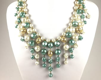 Vintage white gold Green beaded bib Necklace * Statement Necklace * 1960s Jewelry