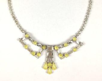 Vintage Necklace-Rhinestone-yellow-cabochons-petite-elegant-art Deco style-1950s-lemon-cheerful-gift-