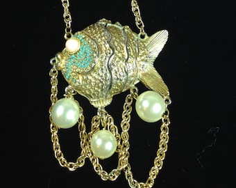 Vintage Necklace-Alice Caviness-Fish-beads-turquoise-cabochons-designer-statement-1960s-Gift