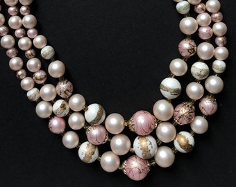 Vintage 3 rows beaded necklace | White Pink Gold | Mid Century Signed Japan