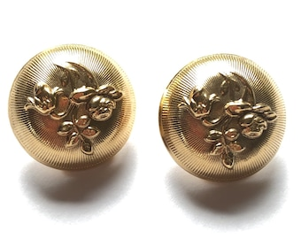 Vintage ball ball round floral earrings | Button Curved | Pattern Rays Rose RoseS