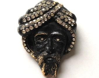 Vintage brooch mask face brooch | Fortune Teller Swami Turban Rhinestones | 1930s Art Deco Rarity Rare