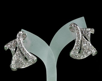 Vintage designer ora Strass abstract Art Deco style earrings