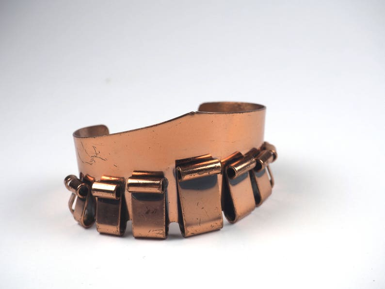 Designer jewelry Vintage massive statement Copper Renoir Bracelet Modernist style