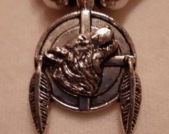 Wolf, macramé necklace, Indian, women's and men's jewellery, unique