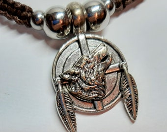 Wolf, macramé necklace, brown, Indian, women's and men's jewellery, unique