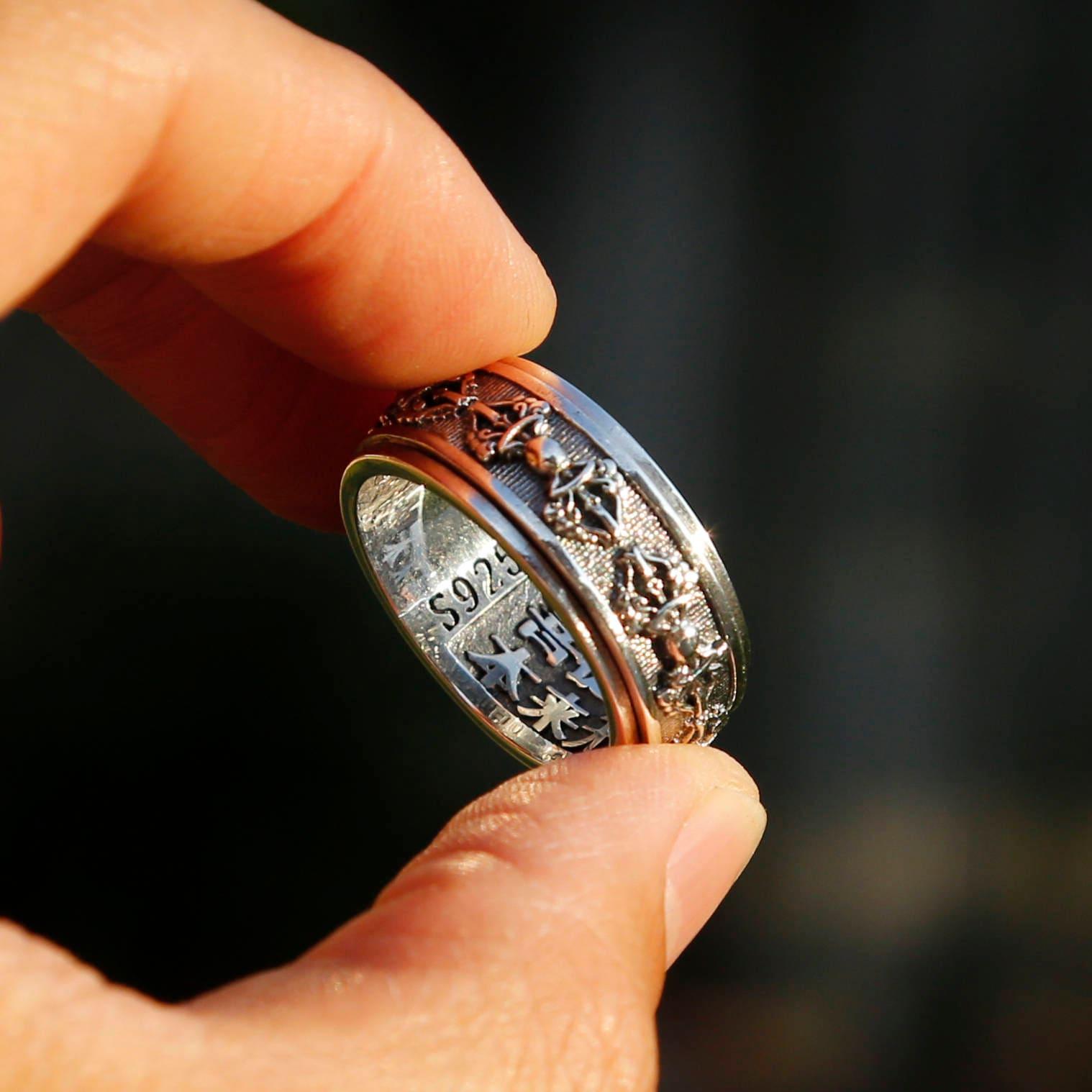 Embossed Tibetan Buddhist Vajra Sterling Silver Spinner Ring, Meditation Mens Ring, Buddhist Prayer Symbol Om Ring, Chinese Man Ring, Nepal