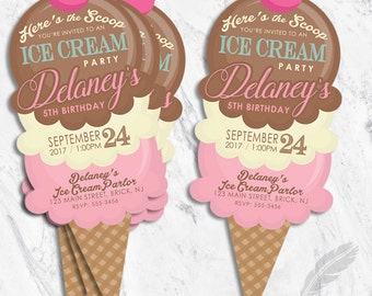 ice cream birthday party invitation scoops social cut out shape digital file or printed and shipped