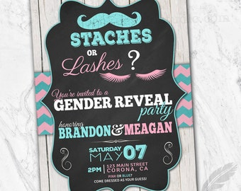 Staches or Lashes Gender Reveal Invitations, baby shower, digital file, you print