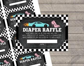 Wheels or Heels Gender Reveal Diaper Raffle Tickets, baby shower, digital, printable