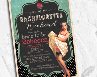 Rockabilly Bachlorette Party Invitations, pin up girl, lingerie, bachlorette, night out, girls night out, sexy, digital file, printable