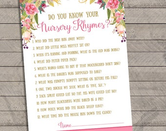 Fairy Nursery Rhyme Game Baby Shower Game, instant download, you print