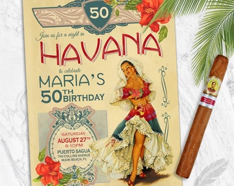 Havana Nights Birthday Party Invitations , vintage, corporate event, retirement party, birthday party