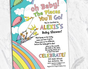 Oh The Places Baby Shower Party Invitations, baby, birthday, oh the places you'll go, digital file, printable