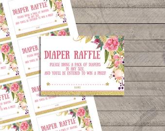 Fairy Baby Shower Diaper Raffle Tickets, gold, glitter, fairy, pink, flowers, digital, printable