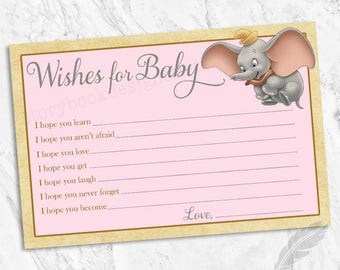 Dumbo Wishes for Baby Cards, elephants, classic, instant download, you print