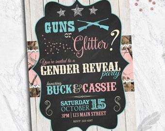 Guns or Glitter Camo Gender Reveal Invitations, baby shower, digital file, you print, camouflage