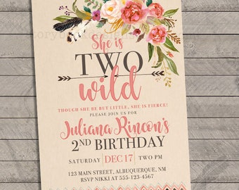 Two Wild Birthday Party Invitations, two, second, 2nd, birthday, baby, flowers, tribal, feathers, arrows, printable