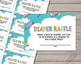 Oh The Places Baby Shower Diaper Raffle Tickets,  digital, printable, instant download