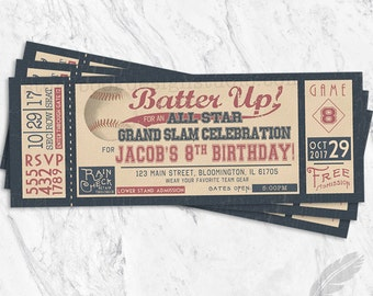 Baseball Birthday Invitations, baseball, tickets, stubs, vintage, batter up, digital file, printable