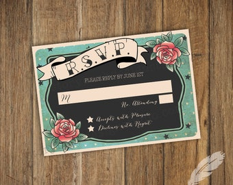 Rockabilly Wedding RSVP Cards, digital file, you print, pin up, tattoos, cherries, 50's, roses