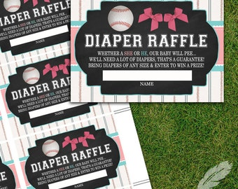 Baseball or Bows Gender Reveal Diaper Raffle Tickets, baby shower, digital, printable